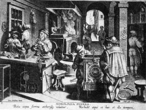 Clockmakers shop in the 16th Century From an engraving from Johannes Stradanus
